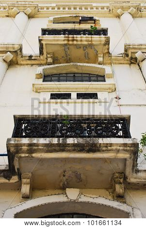 Dirty Neo Classical Building Facade