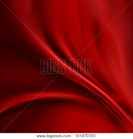 Abstract red background cloth or liquid wave illustration of wavy folds of silk texture satin or velvet material or red luxurious Christmas background wallpaper design of elegant curves red material poster
