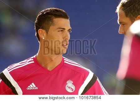 BARCELONA - MAY, 17: Cristiano Ronaldo of Real Madrid before a Spanish League match against RCD Espanyol at the Power8 stadium on Maig 17 2015 in Barcelona Spain