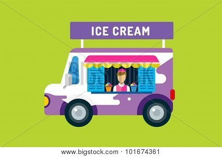 Ice cream vector truck van