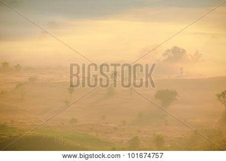 Natural scene of sun rise with unclear foggy