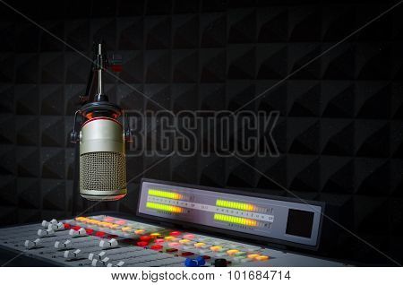 microphone and audio console radio studio