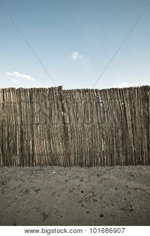 A traditional wall partition made with palm leaves. An Emirati bedouin's ancient home.