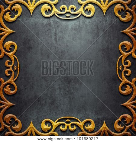 Gold metal  classic ornamental frame on black iron plate (vintage collection)