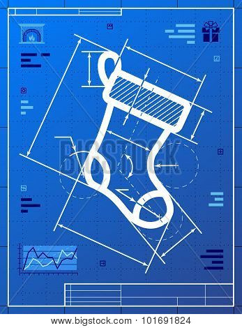 Christmas Stocking Symbol As Blueprint Drawing