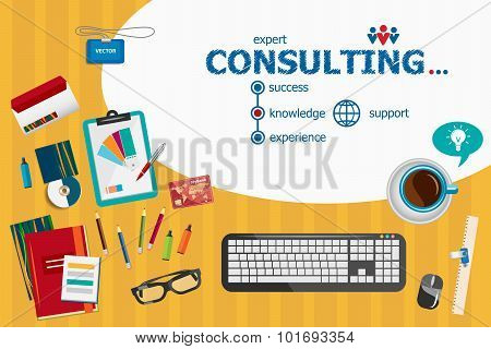 Consulting Design And Flat Design Illustration Concepts For Business Analysis