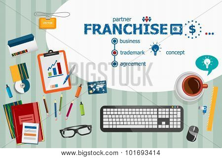 Franchise Design And Flat Design Illustration Concepts For Business Analysis