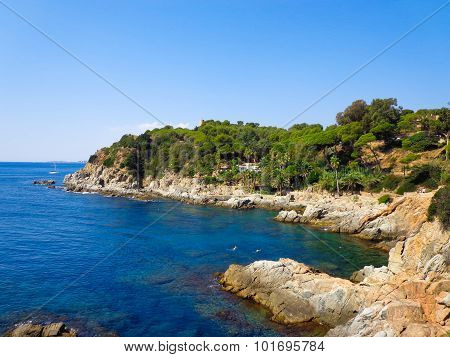 Platja d'Aro beach a well known tourist destination (Costa Brava Catalonia Spain) poster