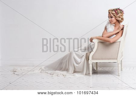 Gorgeous Bride Standing On Sofa