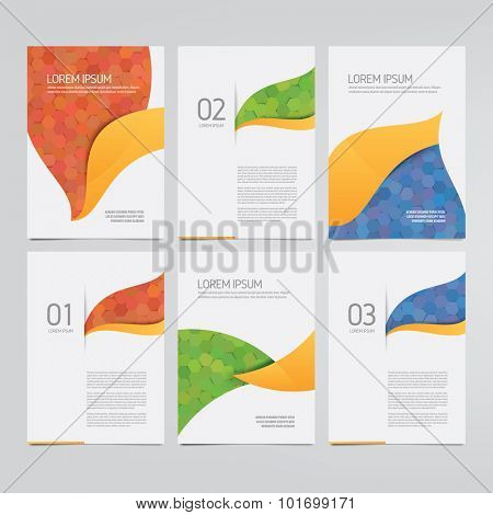Brochure, annual report, flyer, magazine vector templates. Set of modern hexagon pattern corporate designs.