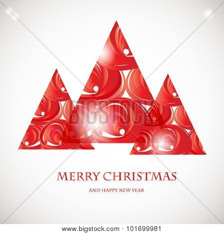 Abstract red christmas tree card. Christmas Tree from abstract transparent elements. Christmas card design. Christmas poster, t-shirt or web design with red fir tree
