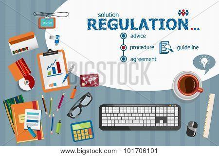 Regulation And Flat Design Illustration Concepts For Business