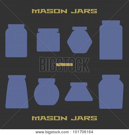 Mason jars silhouette icons set. Design template vector illustration. poster
