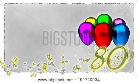birthday concept with colorful baloons - 80th