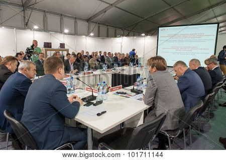 MOSCOW - SEPTEMBER, 02: Audience at conference at V Anniversary International Railway Show Engineering and Technology EXPO 1520 on September 02, 2015 in Moscow
