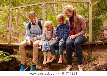 Happy family playing on a bridge in a forest, full length