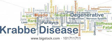 Background concept wordcloud illustration of Krabbe disease
