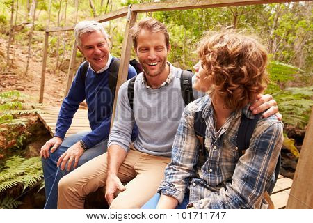 Grandfather, father and son sitting on a bridge in a forest