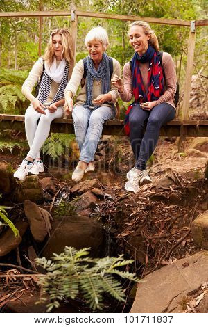 Three generations of women sitting on a bridge in a forest