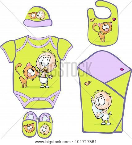Baby Layette With Cute Baby And Cat - Vector Illustration