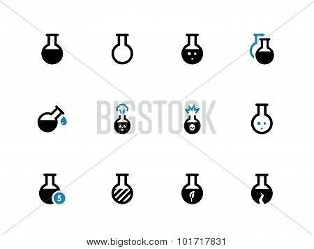 Flacon duotone icons on white background.