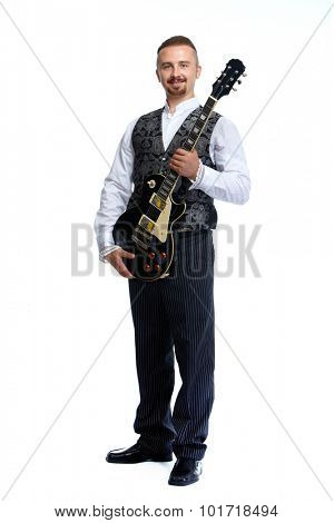 Young singer man with guitar isolated white background