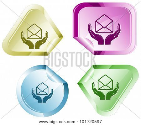 protection of mail. Vector sticker.