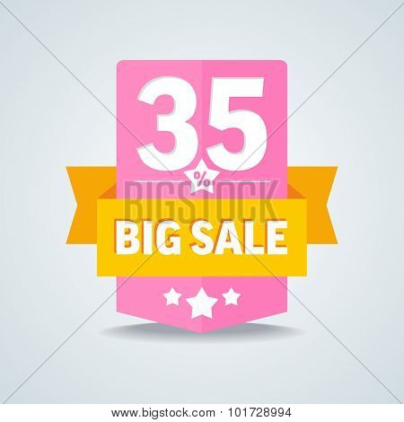 Big sale 35 percent badge with yellow ribbon. Vector illustration.