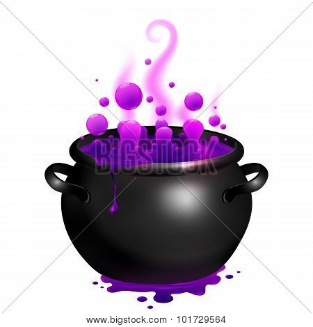 Black vector cauldron with purple witches magic potion