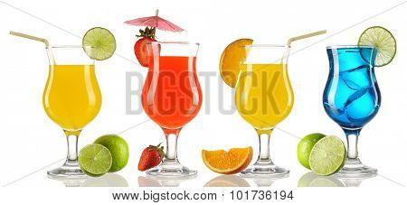 Cocktail collection isolated on white