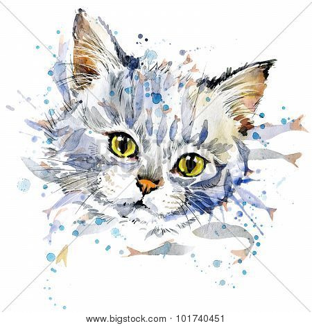 Funny kitten and fish T-shirt graphics, Funny kitten  illustration with splash watercolor textured b