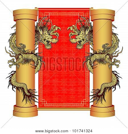 Gold Dragon On A Pole On The Background Of Oriental Scroll