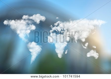 World map made of clouds against European Parliament in Brussels, Belgium