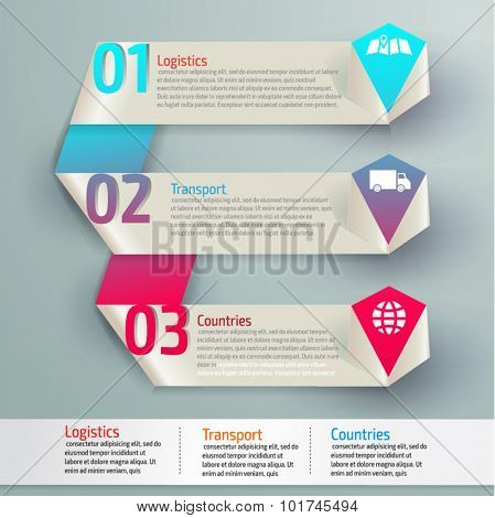 Vector colorful transport infographics for your business presentations. Can be used for info graphics, graphic or website layout vector, numbered banners, diagram, web design.