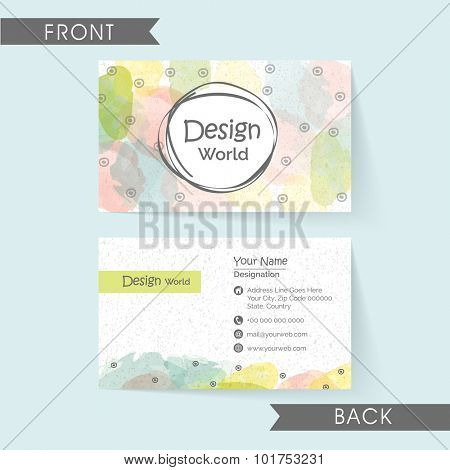 Creative horizontal business card or visiting card design with front and back view.