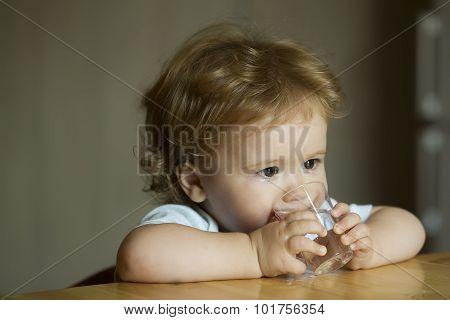 Little Boy Child Drinking Water