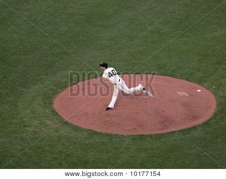 Giants Madison Bumgarner Finishes Throwing Pitch On Mound