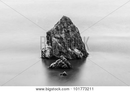 Rocks In The Sea in black and white