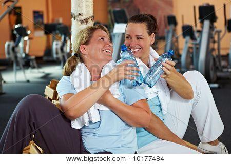 Women In Gym Taking A Break