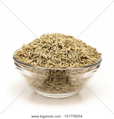 Organic Aniseed in bowl front view.