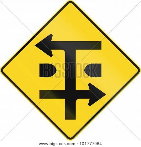An Canadian warning traffic sign - T-Intersection at dual carriageway. This sign is used in Quebec. poster