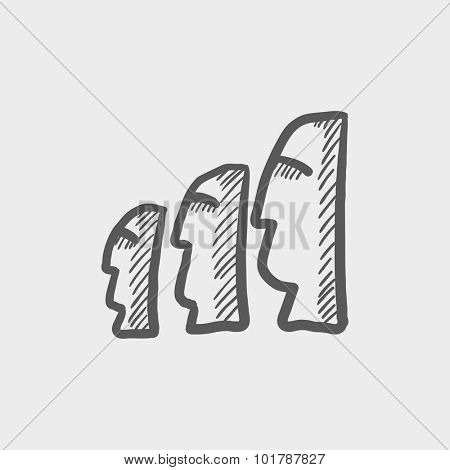 Moai statues on Easter Island sketch icon for web, mobile and infographics. Hand drawn vector dark grey icon isolated on light grey background.