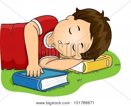 Illustration of a Little Boy Using His Book as a Pillow While He Sleeps