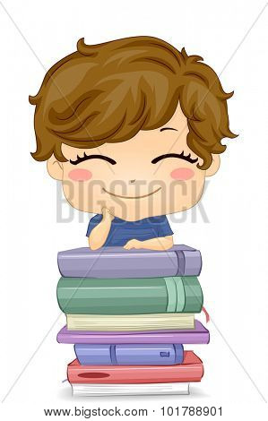 Illustration of a Little Boy Posing in Front of a Pile of Books