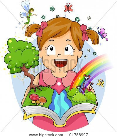 Illustration of Fairies and Butterflies Appearing After a Little Girl Opens Her Book
