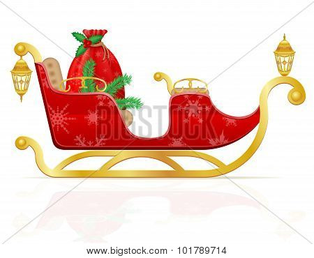 Red Christmas Sleigh Of Santa Claus With Gifts Vector Illustration
