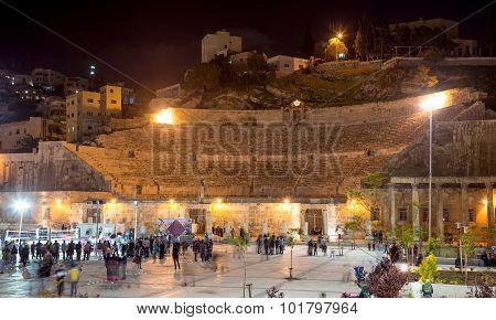 Roman Theatre In Amman (at Night), Jordan -- Theatre Was Built The Reign Of Antonius Pius (138-161 C