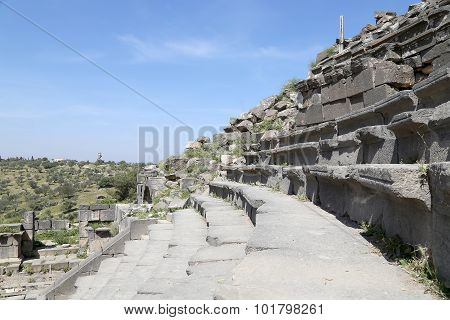 West Theatre Of Umm Qais (umm Qays)-- Is A Town In Northern Jordan Near The Site Of The Ancient Town