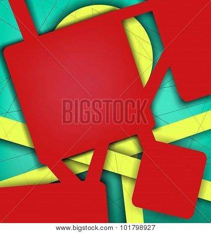 Digital Geometric Lines Red Color