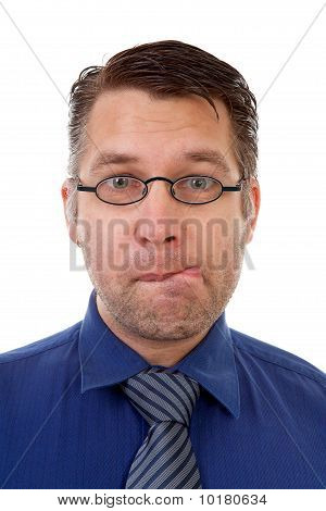 Portrait Of Nerdy Geek Making Funny Face